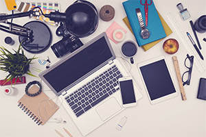Aerial view of a desk