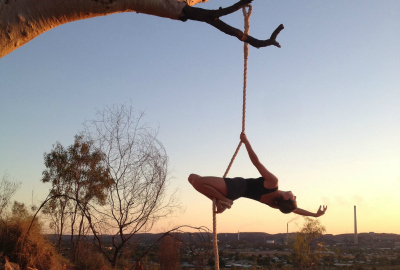 Photo: Dancer in outback. Six Foot Circus (Mount Isa) and 2017 Anywhere Theatre Festival
