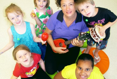 Early Childhood Music Co-ordinator (Queensland Conservatorium Griffith University) Kath Lloyd with children from her weekly class at the Lady Cilento Children's Hospital Junior School