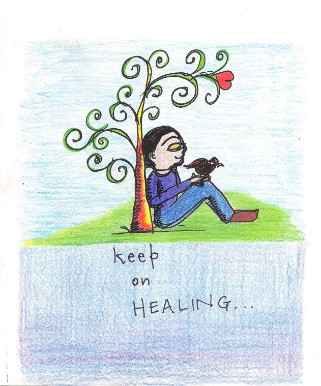 Drawing with the text Keep on Healing